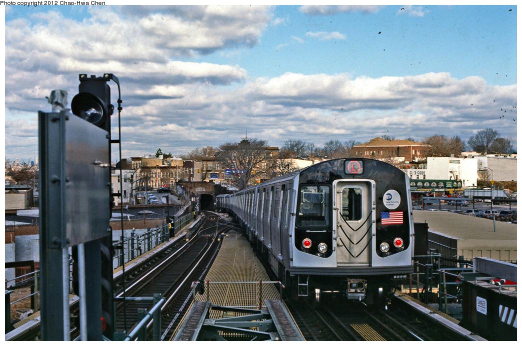 (400k, 1044x693)<br><b>Country:</b> United States<br><b>City:</b> New York<br><b>System:</b> New York City Transit<br><b>Line:</b> BMT Canarsie Line<br><b>Location:</b> Broadway Junction <br><b>Route:</b> L<br><b>Car:</b> R-143 (Kawasaki, 2001-2002) 8108 <br><b>Photo by:</b> Chao-Hwa Chen<br><b>Date:</b> 12/21/2001<br><b>Viewed (this week/total):</b> 5 / 1232