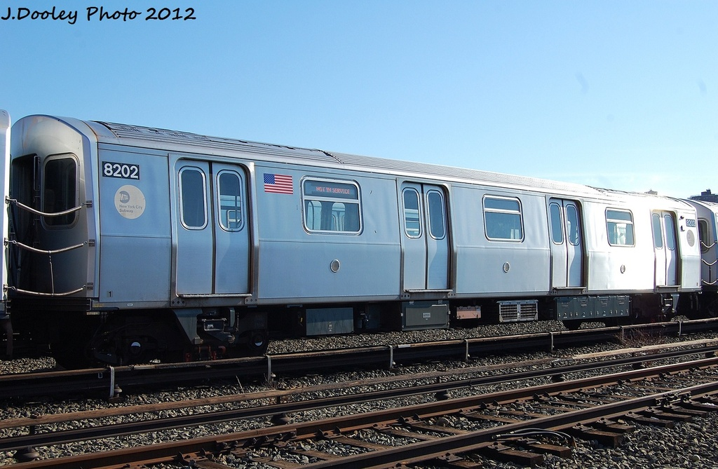 (315k, 1024x669)<br><b>Country:</b> United States<br><b>City:</b> New York<br><b>System:</b> New York City Transit<br><b>Location:</b> Coney Island Yard<br><b>Car:</b> R-143 (Kawasaki, 2001-2002) 8202 <br><b>Photo by:</b> John Dooley<br><b>Date:</b> 1/7/2012<br><b>Viewed (this week/total):</b> 0 / 529