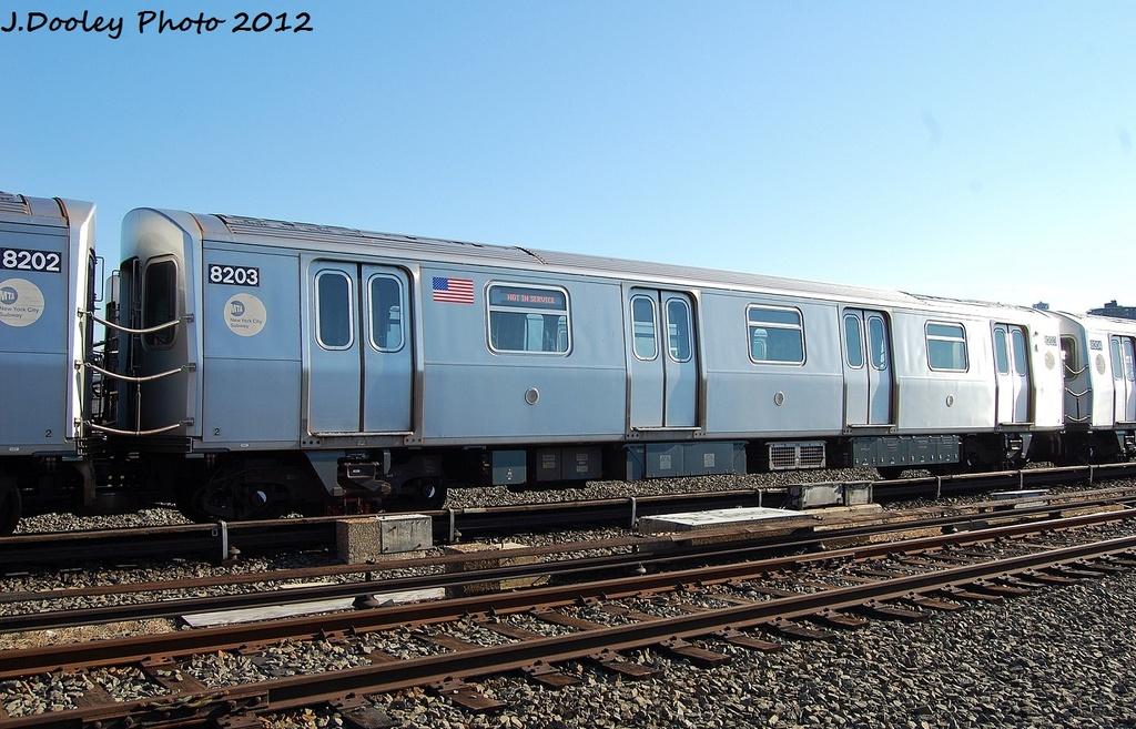 (337k, 1024x657)<br><b>Country:</b> United States<br><b>City:</b> New York<br><b>System:</b> New York City Transit<br><b>Location:</b> Coney Island Yard<br><b>Car:</b> R-143 (Kawasaki, 2001-2002) 8203 <br><b>Photo by:</b> John Dooley<br><b>Date:</b> 1/7/2012<br><b>Viewed (this week/total):</b> 0 / 514