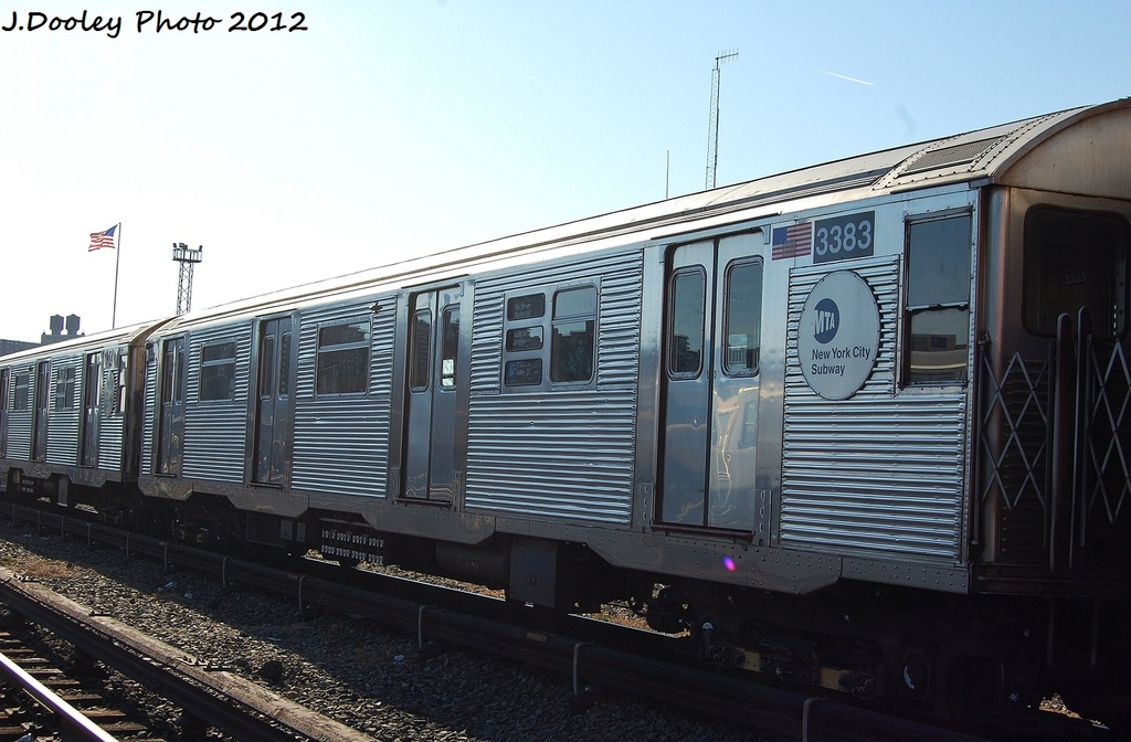 (294k, 1024x672)<br><b>Country:</b> United States<br><b>City:</b> New York<br><b>System:</b> New York City Transit<br><b>Location:</b> Coney Island Yard<br><b>Car:</b> R-32 (Budd, 1964)  3383 <br><b>Photo by:</b> John Dooley<br><b>Date:</b> 1/7/2012<br><b>Viewed (this week/total):</b> 0 / 452