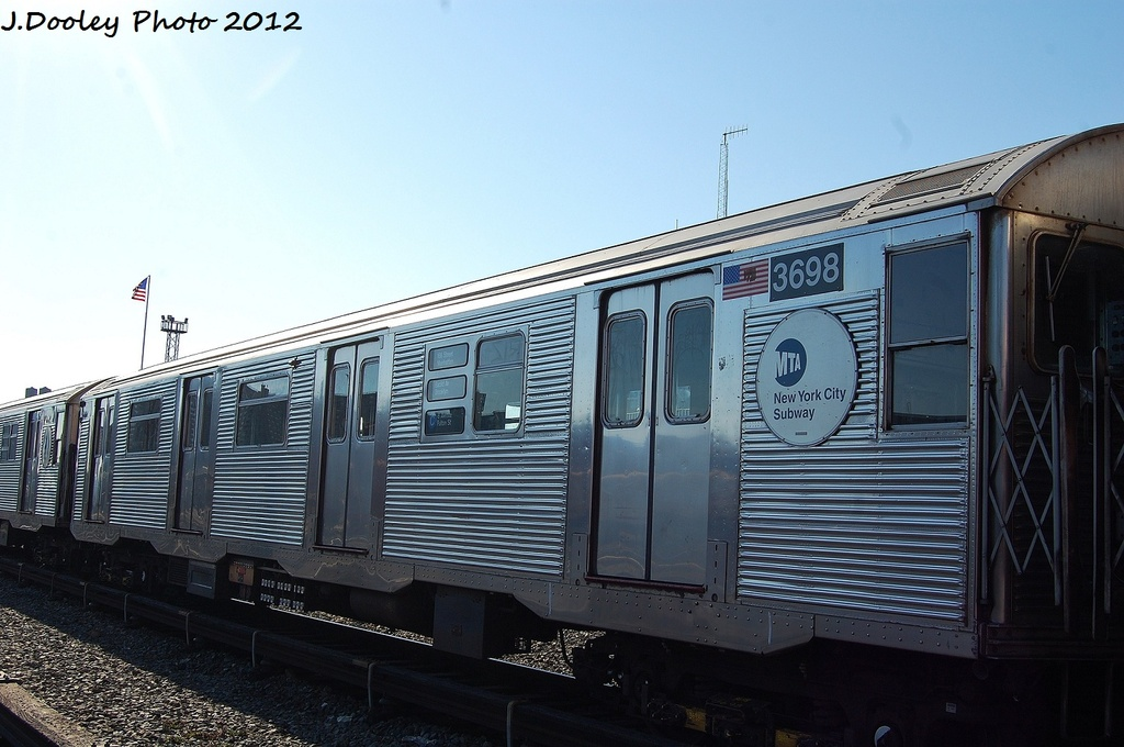 (291k, 1024x680)<br><b>Country:</b> United States<br><b>City:</b> New York<br><b>System:</b> New York City Transit<br><b>Location:</b> Coney Island Yard<br><b>Car:</b> R-32 (Budd, 1964)  3698 <br><b>Photo by:</b> John Dooley<br><b>Date:</b> 1/7/2012<br><b>Viewed (this week/total):</b> 0 / 409