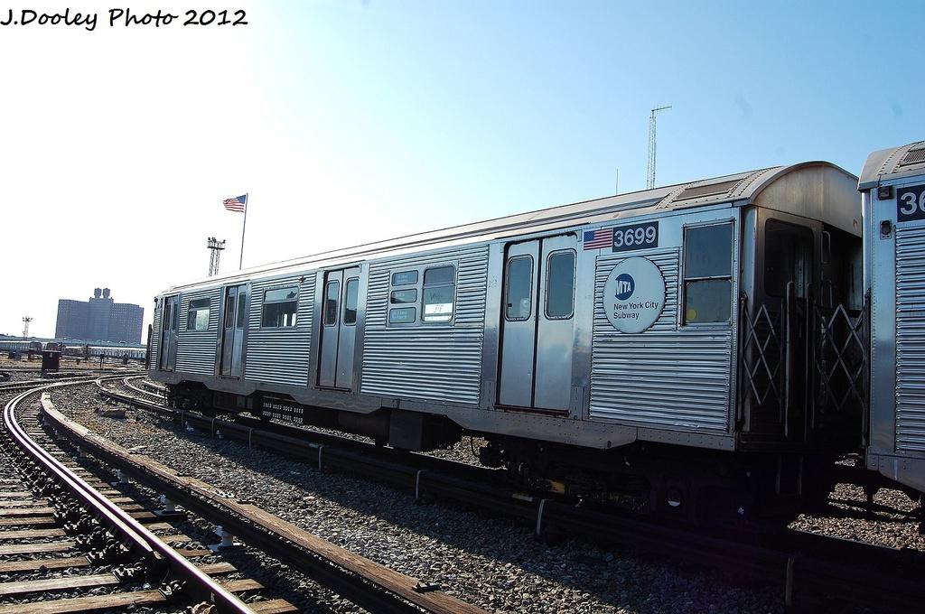 (316k, 1024x680)<br><b>Country:</b> United States<br><b>City:</b> New York<br><b>System:</b> New York City Transit<br><b>Location:</b> Coney Island Yard<br><b>Car:</b> R-32 (Budd, 1964)  3699 <br><b>Photo by:</b> John Dooley<br><b>Date:</b> 1/7/2012<br><b>Viewed (this week/total):</b> 0 / 634