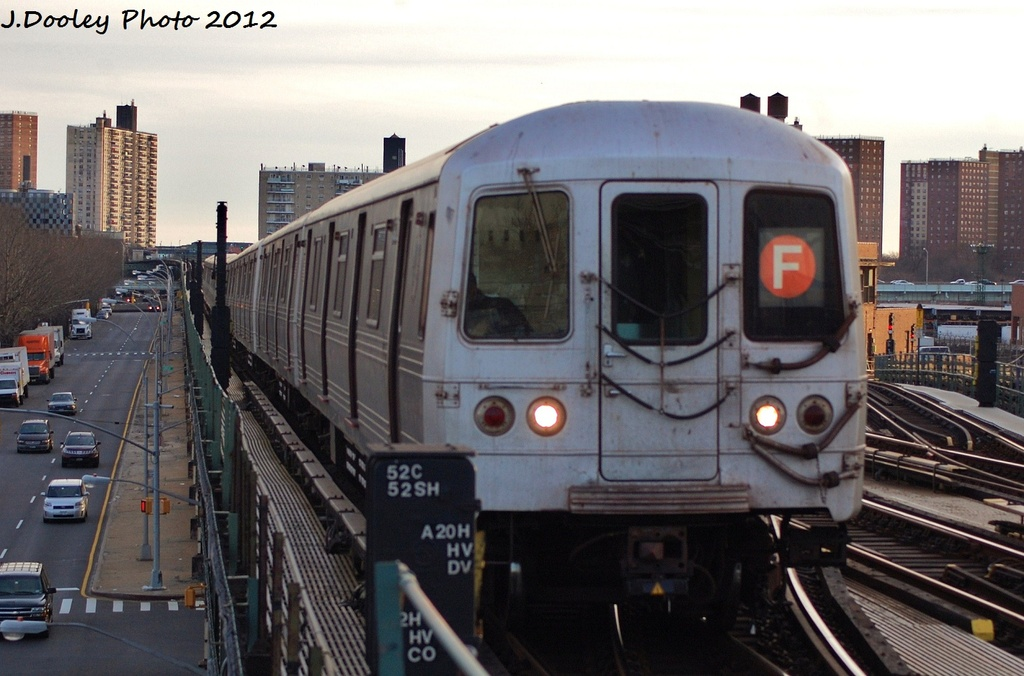 (288k, 1024x676)<br><b>Country:</b> United States<br><b>City:</b> New York<br><b>System:</b> New York City Transit<br><b>Line:</b> BMT Culver Line<br><b>Location:</b> Avenue X <br><b>Route:</b> F<br><b>Car:</b> R-46 (Pullman-Standard, 1974-75)  <br><b>Photo by:</b> John Dooley<br><b>Date:</b> 1/20/2012<br><b>Viewed (this week/total):</b> 0 / 931