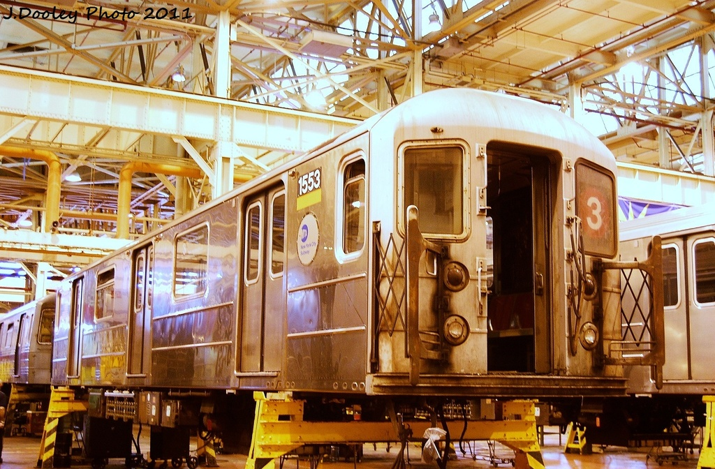(405k, 1024x672)<br><b>Country:</b> United States<br><b>City:</b> New York<br><b>System:</b> New York City Transit<br><b>Location:</b> Coney Island Shop/Overhaul & Repair Shop<br><b>Car:</b> R-62 (Kawasaki, 1983-1985)  1553 <br><b>Photo by:</b> John Dooley<br><b>Date:</b> 8/26/2011<br><b>Viewed (this week/total):</b> 0 / 543