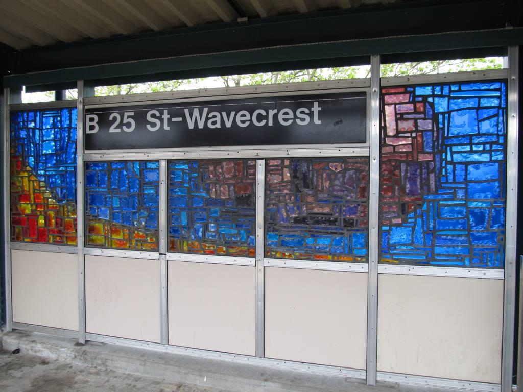 (121k, 1024x768)<br><b>Country:</b> United States<br><b>City:</b> New York<br><b>System:</b> New York City Transit<br><b>Line:</b> IND Rockaway<br><b>Location:</b> Beach 25th Street/Wavecrest <br><b>Photo by:</b> Robbie Rosenfeld<br><b>Date:</b> 5/3/2012<br><b>Artwork:</b> <i>Past/Present/Future</i>, Mauricio Lopez (2011).<br><b>Viewed (this week/total):</b> 5 / 1075