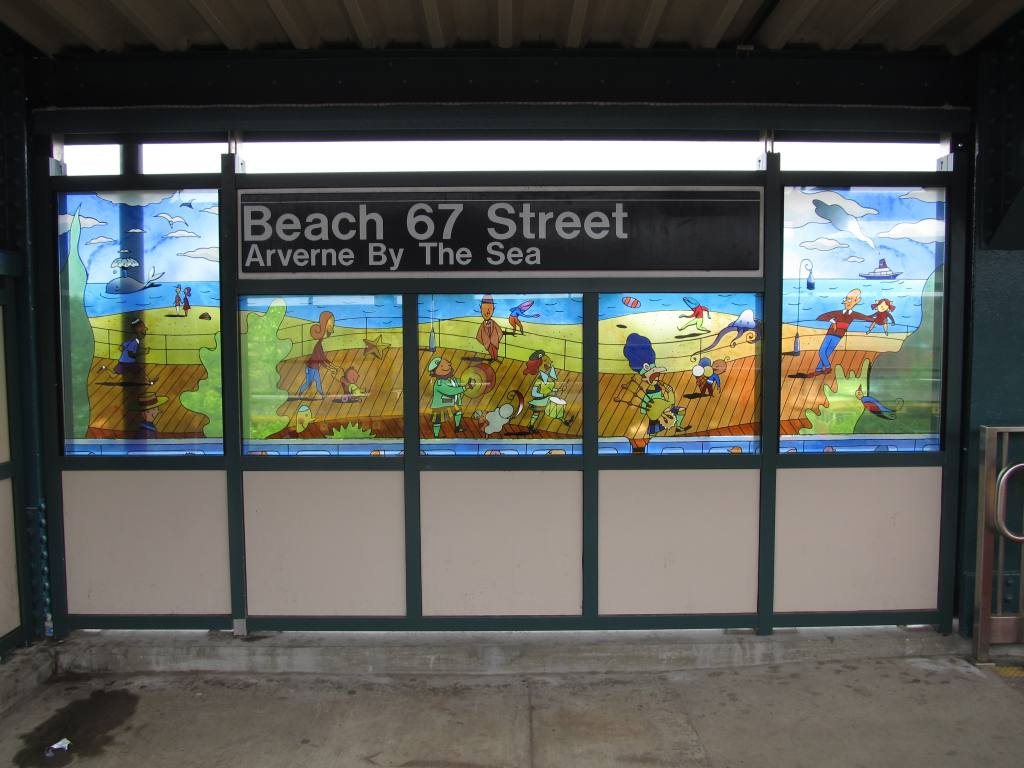 (102k, 1024x768)<br><b>Country:</b> United States<br><b>City:</b> New York<br><b>System:</b> New York City Transit<br><b>Line:</b> IND Rockaway<br><b>Location:</b> Beach 67th Street/Gaston Avenue <br><b>Photo by:</b> Robbie Rosenfeld<br><b>Date:</b> 5/3/2012<br><b>Artwork:</b> <i>On and Off the Boardwalk</i>, Ingo Fast (2011).<br><b>Viewed (this week/total):</b> 1 / 1197