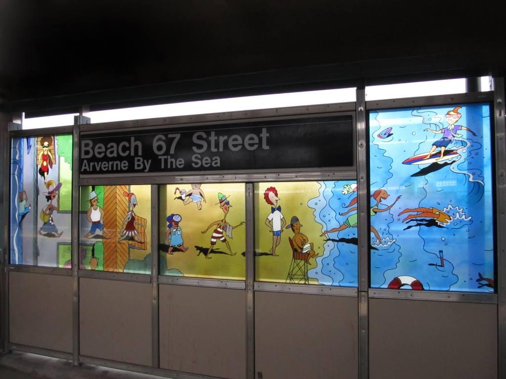 (95k, 1024x768)<br><b>Country:</b> United States<br><b>City:</b> New York<br><b>System:</b> New York City Transit<br><b>Line:</b> IND Rockaway<br><b>Location:</b> Beach 67th Street/Gaston Avenue <br><b>Photo by:</b> Robbie Rosenfeld<br><b>Date:</b> 5/3/2012<br><b>Artwork:</b> <i>On and Off the Boardwalk</i>, Ingo Fast (2011).<br><b>Viewed (this week/total):</b> 3 / 941