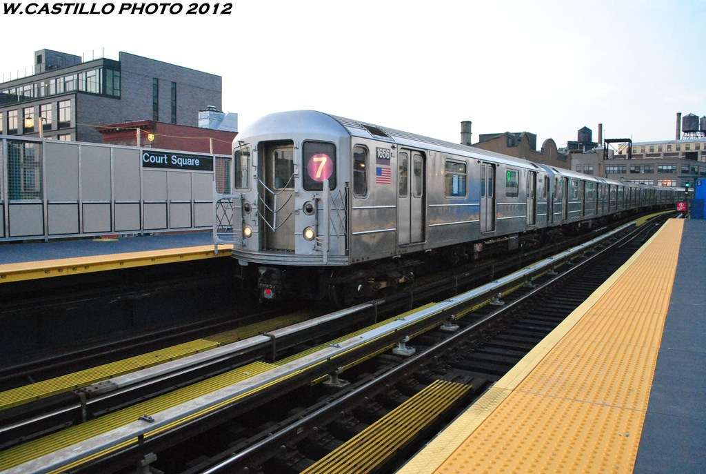 (290k, 1024x687)<br><b>Country:</b> United States<br><b>City:</b> New York<br><b>System:</b> New York City Transit<br><b>Line:</b> IRT Flushing Line<br><b>Location:</b> Court House Square/45th Road <br><b>Route:</b> 7<br><b>Car:</b> R-62A (Bombardier, 1984-1987)  1656 <br><b>Photo by:</b> Wilfredo Castillo<br><b>Date:</b> 5/16/2012<br><b>Viewed (this week/total):</b> 1 / 836