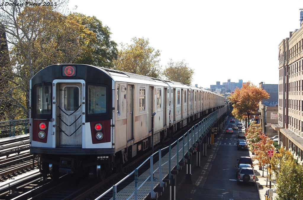 (384k, 1024x678)<br><b>Country:</b> United States<br><b>City:</b> New York<br><b>System:</b> New York City Transit<br><b>Line:</b> IRT Pelham Line<br><b>Location:</b> Westchester Square <br><b>Route:</b> 6<br><b>Car:</b> R-142A (Primary Order, Kawasaki, 1999-2002)  7410 <br><b>Photo by:</b> John Dooley<br><b>Date:</b> 11/5/2011<br><b>Viewed (this week/total):</b> 0 / 873