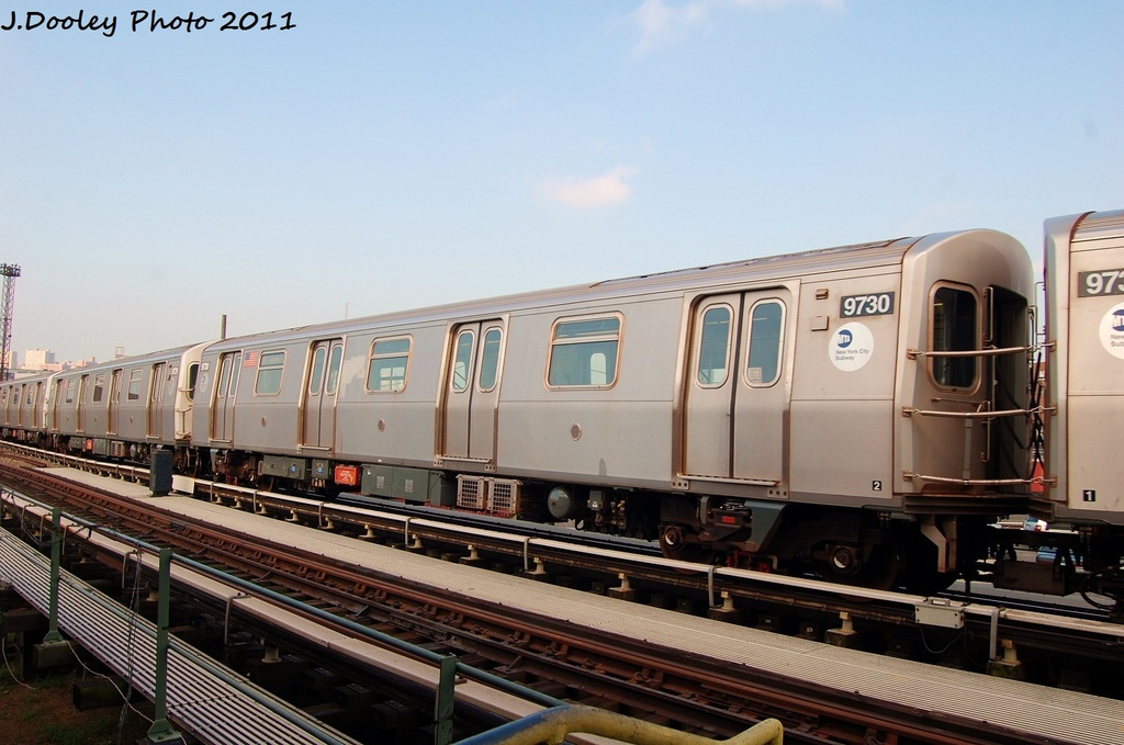 (276k, 1024x679)<br><b>Country:</b> United States<br><b>City:</b> New York<br><b>System:</b> New York City Transit<br><b>Location:</b> Coney Island Yard<br><b>Car:</b> R-160A (Option 2) (Alstom, 2009, 5-car sets)  9730 <br><b>Photo by:</b> John Dooley<br><b>Date:</b> 8/26/2011<br><b>Viewed (this week/total):</b> 2 / 479