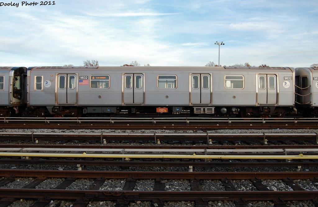(281k, 1024x666)<br><b>Country:</b> United States<br><b>City:</b> New York<br><b>System:</b> New York City Transit<br><b>Location:</b> Jamaica Yard/Shops<br><b>Car:</b> R-160B (Option 2) (Kawasaki, 2009)  9832 <br><b>Photo by:</b> John Dooley<br><b>Date:</b> 11/19/2011<br><b>Viewed (this week/total):</b> 0 / 818
