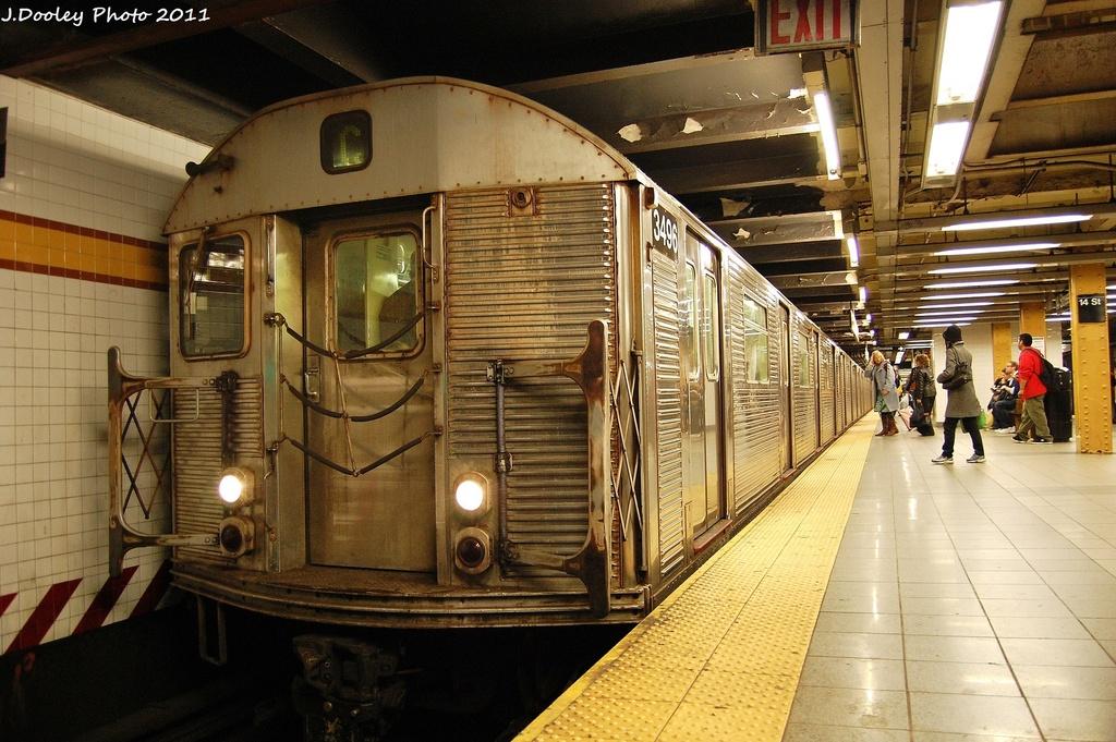 (361k, 1024x681)<br><b>Country:</b> United States<br><b>City:</b> New York<br><b>System:</b> New York City Transit<br><b>Line:</b> IND 8th Avenue Line<br><b>Location:</b> 14th Street <br><b>Route:</b> C<br><b>Car:</b> R-32 (Budd, 1964)  3496 <br><b>Photo by:</b> John Dooley<br><b>Date:</b> 11/14/2011<br><b>Viewed (this week/total):</b> 0 / 750