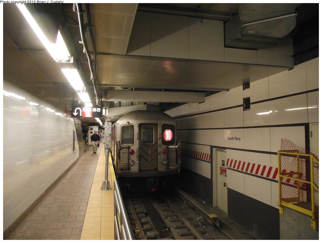 (304k, 1044x788)<br><b>Country:</b> United States<br><b>City:</b> New York<br><b>System:</b> New York City Transit<br><b>Line:</b> IRT West Side Line<br><b>Location:</b> South Ferry (New Station) <br><b>Route:</b> 1<br><b>Car:</b> R-62A (Bombardier, 1984-1987)   <br><b>Photo by:</b> Brian J. Cudahy<br><b>Date:</b> 5/18/2011<br><b>Viewed (this week/total):</b> 4 / 994