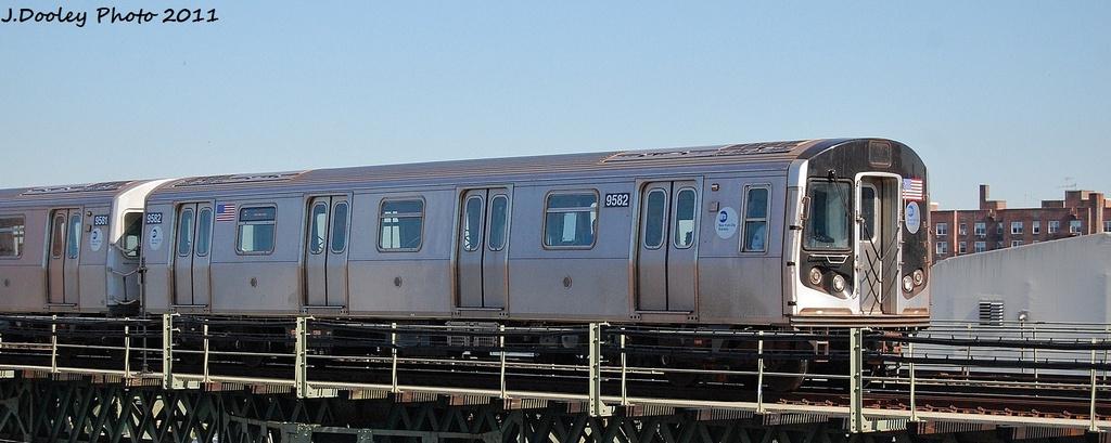 (217k, 1024x409)<br><b>Country:</b> United States<br><b>City:</b> New York<br><b>System:</b> New York City Transit<br><b>Line:</b> BMT Culver Line<br><b>Location:</b> Avenue X <br><b>Route:</b> F<br><b>Car:</b> R-160A (Option 1) (Alstom, 2008-2009, 5 car sets)  9582 <br><b>Photo by:</b> John Dooley<br><b>Date:</b> 10/9/2011<br><b>Viewed (this week/total):</b> 0 / 644