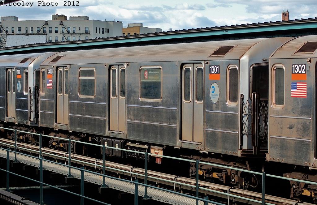 (357k, 1024x663)<br><b>Country:</b> United States<br><b>City:</b> New York<br><b>System:</b> New York City Transit<br><b>Line:</b> IRT Brooklyn Line<br><b>Location:</b> Sutter Avenue/Rutland Road <br><b>Route:</b> 3<br><b>Car:</b> R-62 (Kawasaki, 1983-1985)  1301 <br><b>Photo by:</b> John Dooley<br><b>Date:</b> 3/29/2012<br><b>Viewed (this week/total):</b> 4 / 981