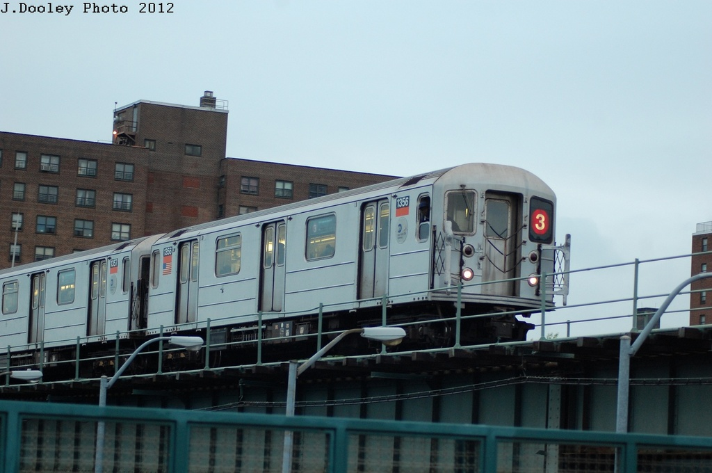 (231k, 1024x680)<br><b>Country:</b> United States<br><b>City:</b> New York<br><b>System:</b> New York City Transit<br><b>Line:</b> IRT Brooklyn Line<br><b>Location:</b> Junius Street <br><b>Route:</b> 3<br><b>Car:</b> R-62 (Kawasaki, 1983-1985)  1356 <br><b>Photo by:</b> John Dooley<br><b>Date:</b> 5/2/2012<br><b>Viewed (this week/total):</b> 4 / 1139