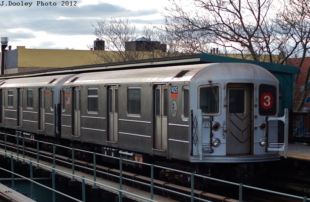 (348k, 1024x669)<br><b>Country:</b> United States<br><b>City:</b> New York<br><b>System:</b> New York City Transit<br><b>Line:</b> IRT Brooklyn Line<br><b>Location:</b> Rockaway Avenue <br><b>Route:</b> 3<br><b>Car:</b> R-62 (Kawasaki, 1983-1985)  1425 <br><b>Photo by:</b> John Dooley<br><b>Date:</b> 3/29/2012<br><b>Viewed (this week/total):</b> 1 / 867