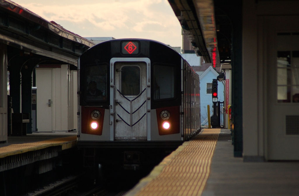 (214k, 1024x673)<br><b>Country:</b> United States<br><b>City:</b> New York<br><b>System:</b> New York City Transit<br><b>Line:</b> IRT Pelham Line<br><b>Location:</b> East 177th Street/Parkchester <br><b>Route:</b> 6<br><b>Car:</b> R-142 or R-142A (Number Unknown)  <br><b>Photo by:</b> John Dooley<br><b>Date:</b> 2/22/2012<br><b>Viewed (this week/total):</b> 1 / 851
