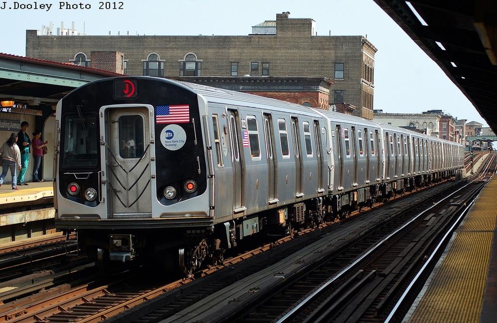 (370k, 1024x665)<br><b>Country:</b> United States<br><b>City:</b> New York<br><b>System:</b> New York City Transit<br><b>Line:</b> BMT Nassau Street/Jamaica Line<br><b>Location:</b> Flushing Avenue <br><b>Route:</b> J<br><b>Car:</b> R-160A-1 (Alstom, 2005-2008, 4 car sets)  8321 <br><b>Photo by:</b> John Dooley<br><b>Date:</b> 3/23/2012<br><b>Viewed (this week/total):</b> 0 / 780