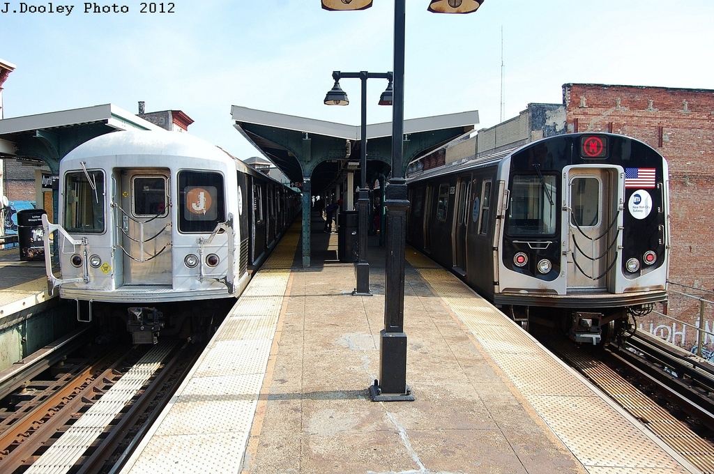 (388k, 1024x680)<br><b>Country:</b> United States<br><b>City:</b> New York<br><b>System:</b> New York City Transit<br><b>Line:</b> BMT Nassau Street/Jamaica Line<br><b>Location:</b> Myrtle Avenue <br><b>Route:</b> J<br><b>Car:</b> R-42 (St. Louis, 1969-1970)   <br><b>Photo by:</b> John Dooley<br><b>Date:</b> 3/23/2012<br><b>Notes:</b> With R-160 8528<br><b>Viewed (this week/total):</b> 0 / 1307