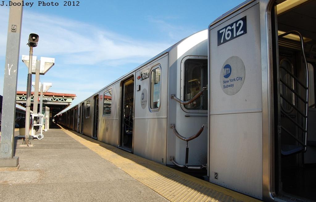 (269k, 1024x656)<br><b>Country:</b> United States<br><b>City:</b> New York<br><b>System:</b> New York City Transit<br><b>Line:</b> IRT Pelham Line<br><b>Location:</b> Pelham Bay Park <br><b>Route:</b> 6<br><b>Car:</b> R-142A (Option Order, Kawasaki, 2002-2003)  7613 <br><b>Photo by:</b> John Dooley<br><b>Date:</b> 2/22/2012<br><b>Viewed (this week/total):</b> 0 / 1000