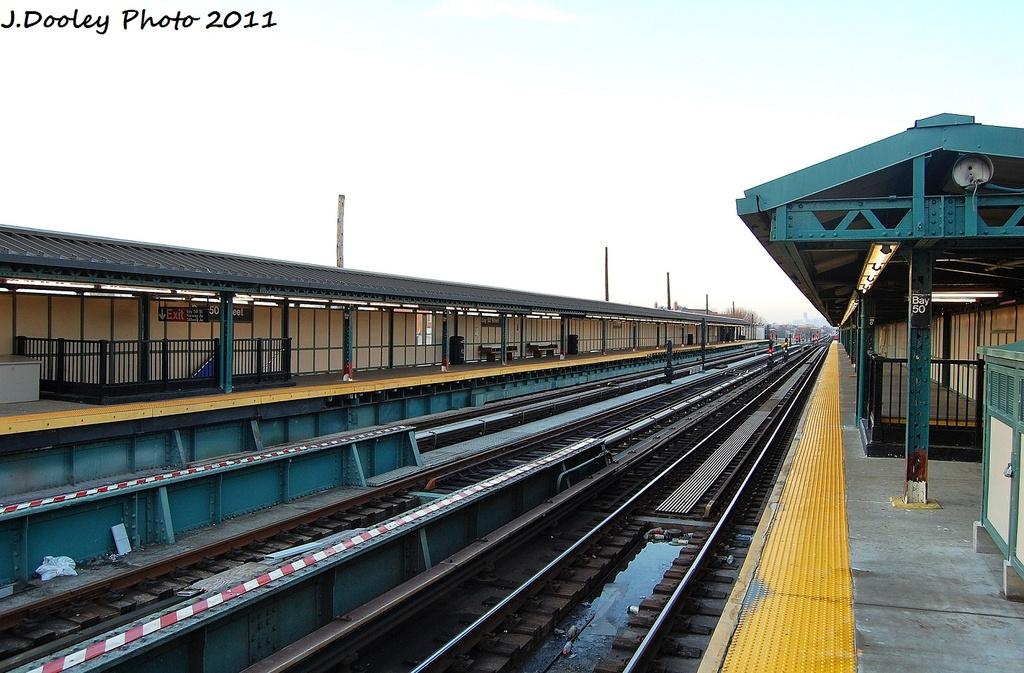 (318k, 1024x673)<br><b>Country:</b> United States<br><b>City:</b> New York<br><b>System:</b> New York City Transit<br><b>Line:</b> BMT West End Line<br><b>Location:</b> Bay 50th Street <br><b>Photo by:</b> John Dooley<br><b>Date:</b> 12/31/2011<br><b>Viewed (this week/total):</b> 1 / 1007