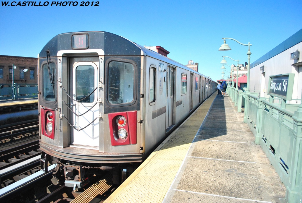 (325k, 1024x687)<br><b>Country:</b> United States<br><b>City:</b> New York<br><b>System:</b> New York City Transit<br><b>Line:</b> IRT White Plains Road Line<br><b>Location:</b> Simpson Street <br><b>Route:</b> 5<br><b>Car:</b> R-142 (Option Order, Bombardier, 2002-2003)  7011 <br><b>Photo by:</b> Wilfredo Castillo<br><b>Date:</b> 5/19/2012<br><b>Viewed (this week/total):</b> 0 / 1115