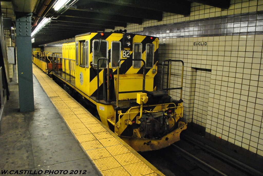 (338k, 1024x687)<br><b>Country:</b> United States<br><b>City:</b> New York<br><b>System:</b> New York City Transit<br><b>Line:</b> IND Fulton Street Line<br><b>Location:</b> Euclid Avenue <br><b>Route:</b> Work Service<br><b>Car:</b> R-52 Locomotive  82 <br><b>Photo by:</b> Wilfredo Castillo<br><b>Date:</b> 5/25/2012<br><b>Viewed (this week/total):</b> 0 / 790
