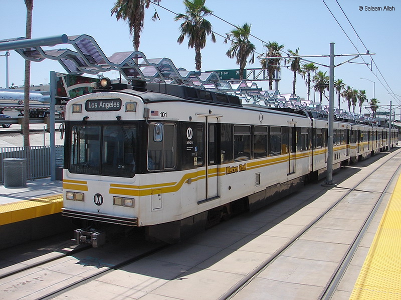 (401k, 800x600)<br><b>Country:</b> United States<br><b>City:</b> Los Angeles, CA<br><b>System:</b> Los Angeles County MTA<br><b>Line:</b> Aqua (Expo) Line<br><b>Location:</b> Jefferson/USC <br><b>Car:</b> P850/P865 (Nippon Sharyo, 1989-1994)  101 <br><b>Photo by:</b> Salaam Allah<br><b>Date:</b> 5/9/2012<br><b>Viewed (this week/total):</b> 3 / 727