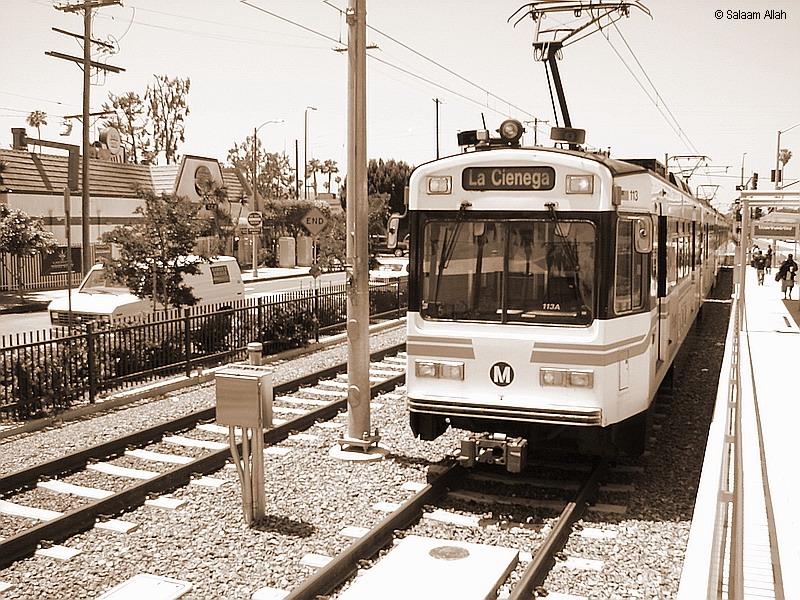 (502k, 800x600)<br><b>Country:</b> United States<br><b>City:</b> Los Angeles, CA<br><b>System:</b> Los Angeles County MTA<br><b>Line:</b> Aqua (Expo) Line<br><b>Location:</b> Crenshaw <br><b>Car:</b> P850/P865 (Nippon Sharyo, 1989-1994)  113 <br><b>Photo by:</b> Salaam Allah<br><b>Date:</b> 5/9/2012<br><b>Viewed (this week/total):</b> 4 / 535