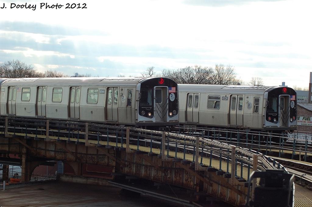 (292k, 1024x680)<br><b>Country:</b> United States<br><b>City:</b> New York<br><b>System:</b> New York City Transit<br><b>Line:</b> BMT Nassau Street/Jamaica Line<br><b>Location:</b> Cypress Hills <br><b>Route:</b> J<br><b>Car:</b> R-160A-1 (Alstom, 2005-2008, 4 car sets)  8328 <br><b>Photo by:</b> John Dooley<br><b>Date:</b> 1/2/2012<br><b>Viewed (this week/total):</b> 0 / 988
