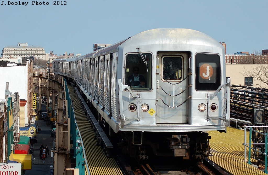 (344k, 1024x670)<br><b>Country:</b> United States<br><b>City:</b> New York<br><b>System:</b> New York City Transit<br><b>Line:</b> BMT Nassau Street/Jamaica Line<br><b>Location:</b> 121st Street <br><b>Route:</b> J<br><b>Car:</b> R-42 (St. Louis, 1969-1970)   <br><b>Photo by:</b> John Dooley<br><b>Date:</b> 3/23/2012<br><b>Viewed (this week/total):</b> 1 / 1335