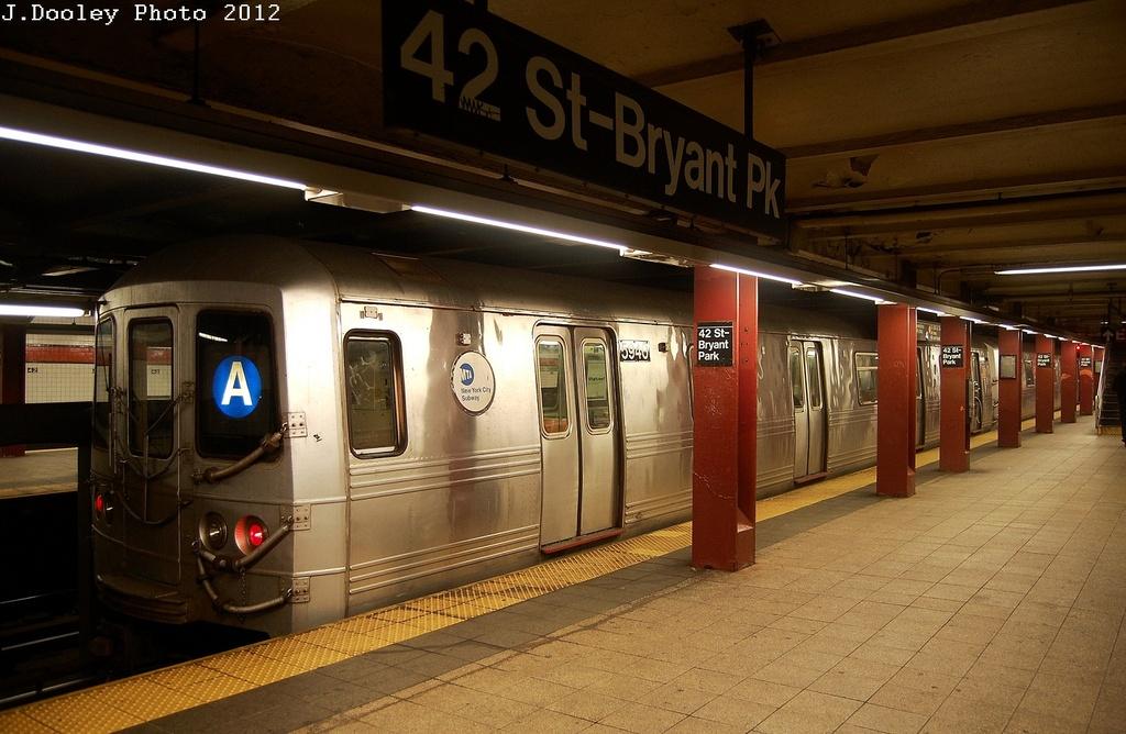 (309k, 1024x668)<br><b>Country:</b> United States<br><b>City:</b> New York<br><b>System:</b> New York City Transit<br><b>Line:</b> IND 6th Avenue Line<br><b>Location:</b> 42nd Street/Bryant Park <br><b>Route:</b> A reroute<br><b>Car:</b> R-46 (Pullman-Standard, 1974-75) 5946 <br><b>Photo by:</b> John Dooley<br><b>Date:</b> 3/12/2012<br><b>Viewed (this week/total):</b> 0 / 942