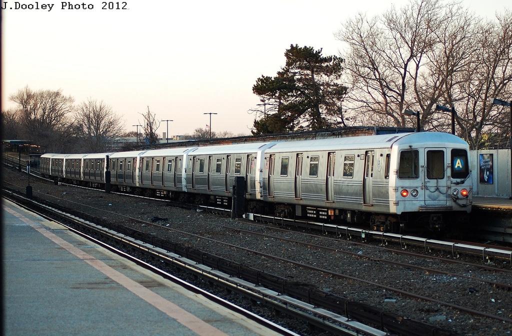 (384k, 1024x672)<br><b>Country:</b> United States<br><b>City:</b> New York<br><b>System:</b> New York City Transit<br><b>Line:</b> IND Rockaway<br><b>Location:</b> Aqueduct/North Conduit Avenue <br><b>Route:</b> A<br><b>Car:</b> R-46 (Pullman-Standard, 1974-75) 6110 <br><b>Photo by:</b> John Dooley<br><b>Date:</b> 3/14/2012<br><b>Viewed (this week/total):</b> 0 / 601