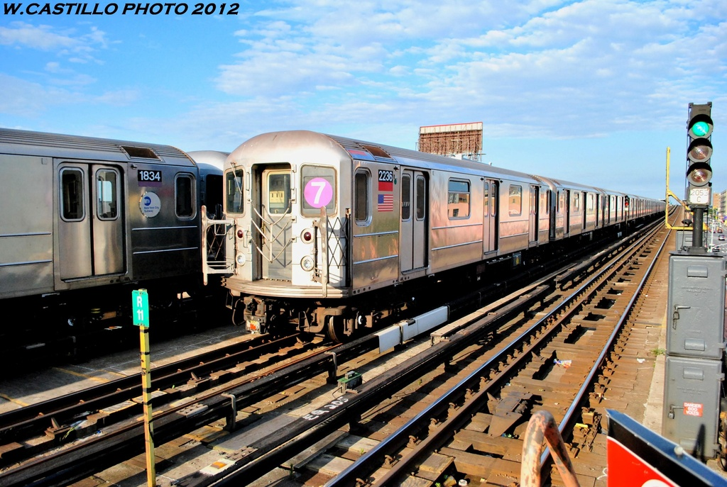 (303k, 1024x687)<br><b>Country:</b> United States<br><b>City:</b> New York<br><b>System:</b> New York City Transit<br><b>Line:</b> IRT Flushing Line<br><b>Location:</b> 33rd Street/Rawson Street <br><b>Route:</b> 7<br><b>Car:</b> R-62A (Bombardier, 1984-1987)  2236 <br><b>Photo by:</b> Wilfredo Castillo<br><b>Date:</b> 6/2012<br><b>Viewed (this week/total):</b> 1 / 1751