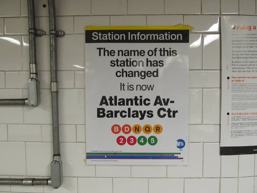(80k, 1024x768)<br><b>Country:</b> United States<br><b>City:</b> New York<br><b>System:</b> New York City Transit<br><b>Line:</b> BMT Brighton Line<br><b>Location:</b> Atlantic Avenue <br><b>Photo by:</b> Robbie Rosenfeld<br><b>Date:</b> 6/12/2012<br><b>Notes:</b> Barclays Center poster.<br><b>Viewed (this week/total):</b> 1 / 1321