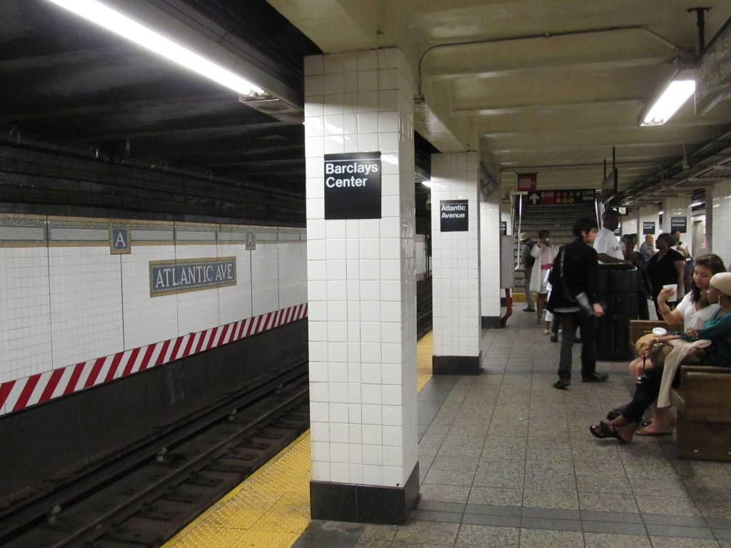 (95k, 1024x768)<br><b>Country:</b> United States<br><b>City:</b> New York<br><b>System:</b> New York City Transit<br><b>Line:</b> BMT Brighton Line<br><b>Location:</b> Atlantic Avenue <br><b>Photo by:</b> Robbie Rosenfeld<br><b>Date:</b> 6/12/2012<br><b>Notes:</b> Barclays Center signage.<br><b>Viewed (this week/total):</b> 1 / 1338