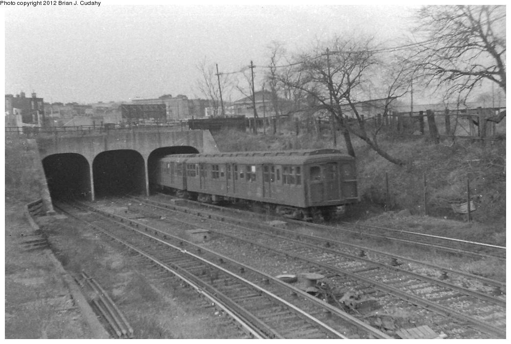 (270k, 1044x702)<br><b>Country:</b> United States<br><b>City:</b> New York<br><b>System:</b> New York City Transit<br><b>Line:</b> BMT Culver Line<br><b>Location:</b> 9th Avenue (Lower Level) <br><b>Car:</b> BMT A/B-Type Standard  <br><b>Photo by:</b> Brian J. Cudahy<br><b>Date:</b> 1954<br><b>Notes:</b> Culver Line train entering Ninth Avenue<br><b>Viewed (this week/total):</b> 1 / 2191