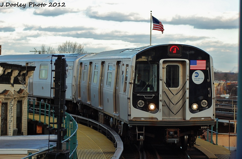 (307k, 1024x675)<br><b>Country:</b> United States<br><b>City:</b> New York<br><b>System:</b> New York City Transit<br><b>Line:</b> BMT Nassau Street-Jamaica Line<br><b>Location:</b> Crescent Street<br><b>Route:</b> J<br><b>Car:</b> R-160A-1 (Alstom, 2005-2008, 4 car sets) 8448 <br><b>Photo by:</b> John Dooley<br><b>Date:</b> 1/2/2012<br><b>Viewed (this week/total):</b> 0 / 1268