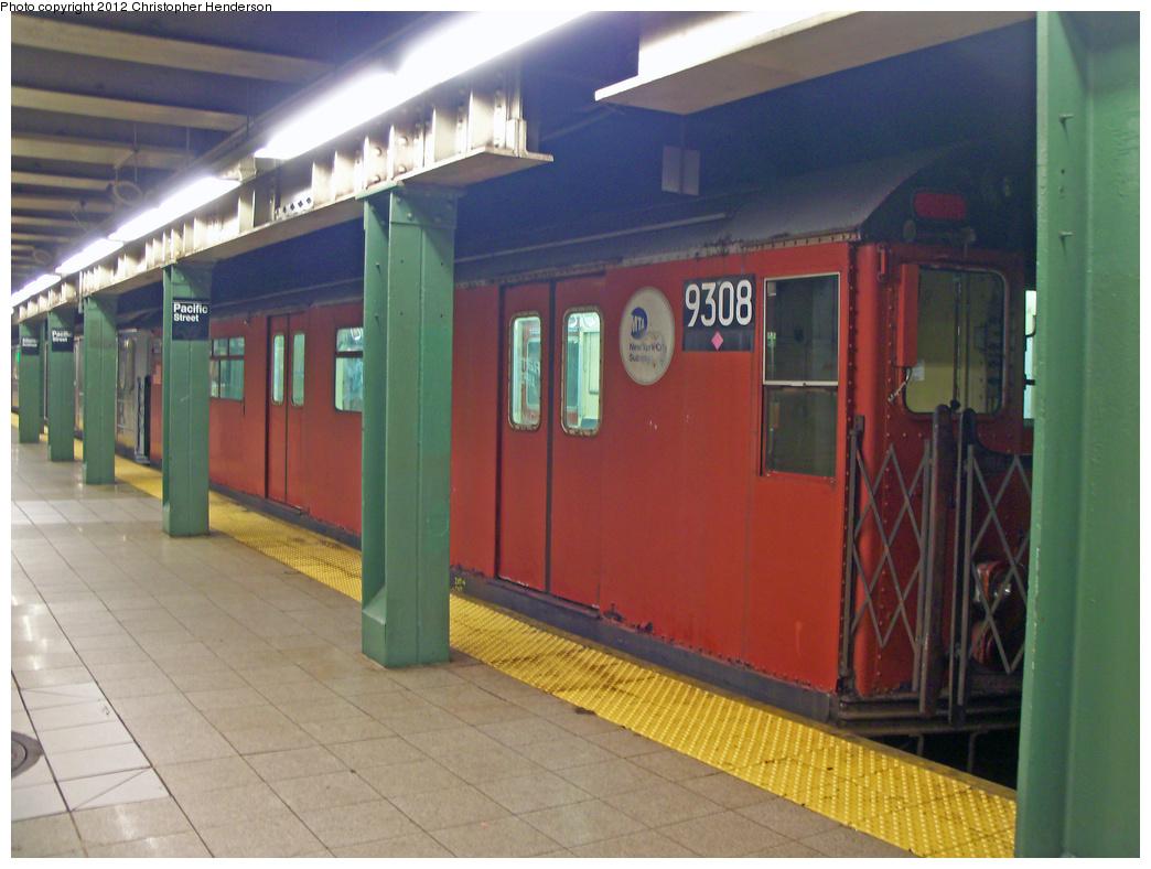 (476k, 1044x788)<br><b>Country:</b> United States<br><b>City:</b> New York<br><b>System:</b> New York City Transit<br><b>Line:</b> BMT 4th Avenue<br><b>Location:</b> Pacific Street <br><b>Route:</b> Work Service<br><b>Car:</b> R-33 World's Fair (St. Louis, 1963-64) 9308 <br><b>Photo by:</b> Christopher Henderson<br><b>Date:</b> 1/27/2012<br><b>Viewed (this week/total):</b> 5 / 1031