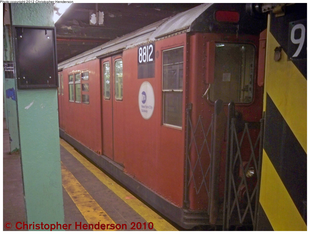 (338k, 1044x788)<br><b>Country:</b> United States<br><b>City:</b> New York<br><b>System:</b> New York City Transit<br><b>Line:</b> IND Queens Boulevard Line<br><b>Location:</b> 71st/Continental Aves./Forest Hills <br><b>Route:</b> Work Service<br><b>Car:</b> R-33 Main Line (St. Louis, 1962-63) 8812 <br><b>Photo by:</b> Christopher Henderson<br><b>Date:</b> 6/28/2012<br><b>Viewed (this week/total):</b> 2 / 1070