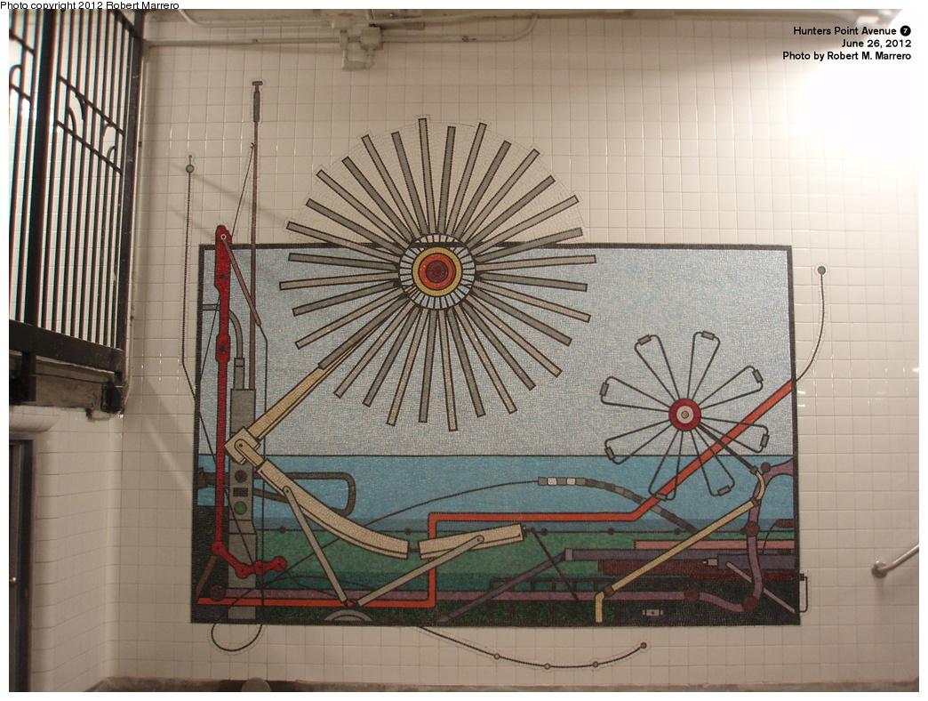 (359k, 1044x788)<br><b>Country:</b> United States<br><b>City:</b> New York<br><b>System:</b> New York City Transit<br><b>Line:</b> IRT Flushing Line<br><b>Location:</b> Hunterspoint Avenue <br><b>Photo by:</b> Robert Marrero<br><b>Date:</b> 6/26/2012<br><b>Artwork:</b> <i>Hunterspoint Avenue Project</i>, Tricia Keightley (2012).<br><b>Notes:</b> New artwork installation.<br><b>Viewed (this week/total):</b> 8 / 1818
