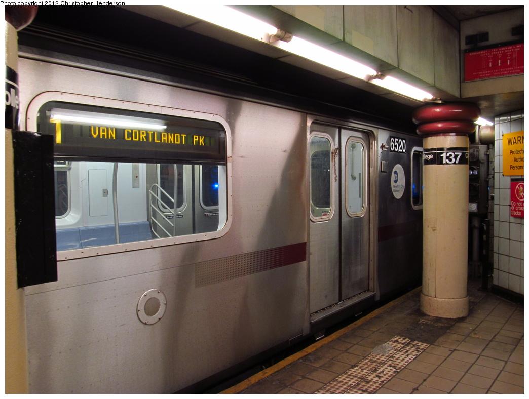 (286k, 1044x788)<br><b>Country:</b> United States<br><b>City:</b> New York<br><b>System:</b> New York City Transit<br><b>Line:</b> IRT West Side Line<br><b>Location:</b> 137th Street/City College <br><b>Route:</b> 1<br><b>Car:</b> R-142 (Primary Order, Bombardier, 1999-2002)  6520 <br><b>Photo by:</b> Christopher Henderson<br><b>Date:</b> 7/4/2012<br><b>Viewed (this week/total):</b> 4 / 1885