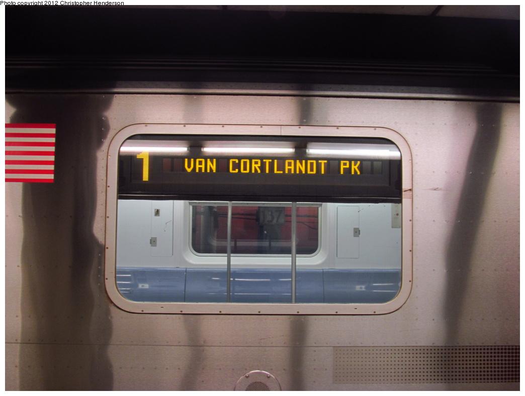 (235k, 1044x788)<br><b>Country:</b> United States<br><b>City:</b> New York<br><b>System:</b> New York City Transit<br><b>Line:</b> IRT West Side Line<br><b>Location:</b> 137th Street/City College<br><b>Route:</b> 1<br><b>Car:</b> R-142 (Primary Order, Bombardier, 1999-2002) 6520 <br><b>Photo by:</b> Christopher Henderson<br><b>Date:</b> 7/4/2012<br><b>Viewed (this week/total):</b> 3 / 2914