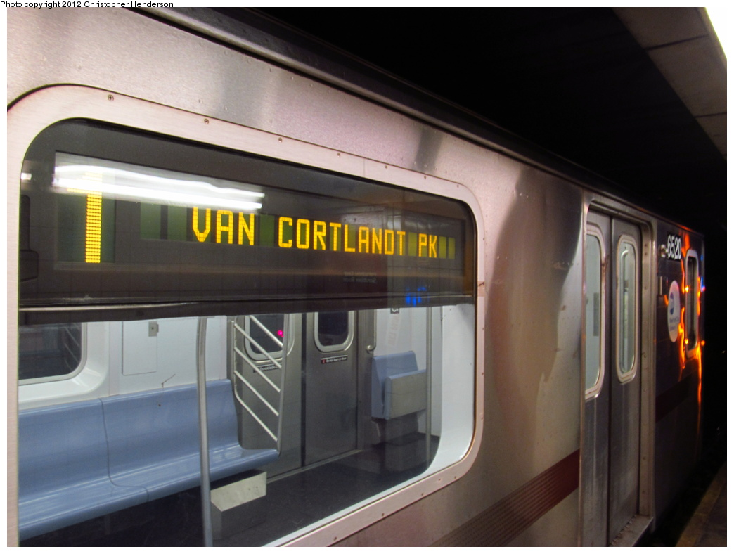 (246k, 1044x788)<br><b>Country:</b> United States<br><b>City:</b> New York<br><b>System:</b> New York City Transit<br><b>Line:</b> IRT West Side Line<br><b>Location:</b> 137th Street/City College<br><b>Route:</b> 1<br><b>Car:</b> R-142 (Primary Order, Bombardier, 1999-2002) 6520 <br><b>Photo by:</b> Christopher Henderson<br><b>Date:</b> 7/4/2012<br><b>Viewed (this week/total):</b> 0 / 2599