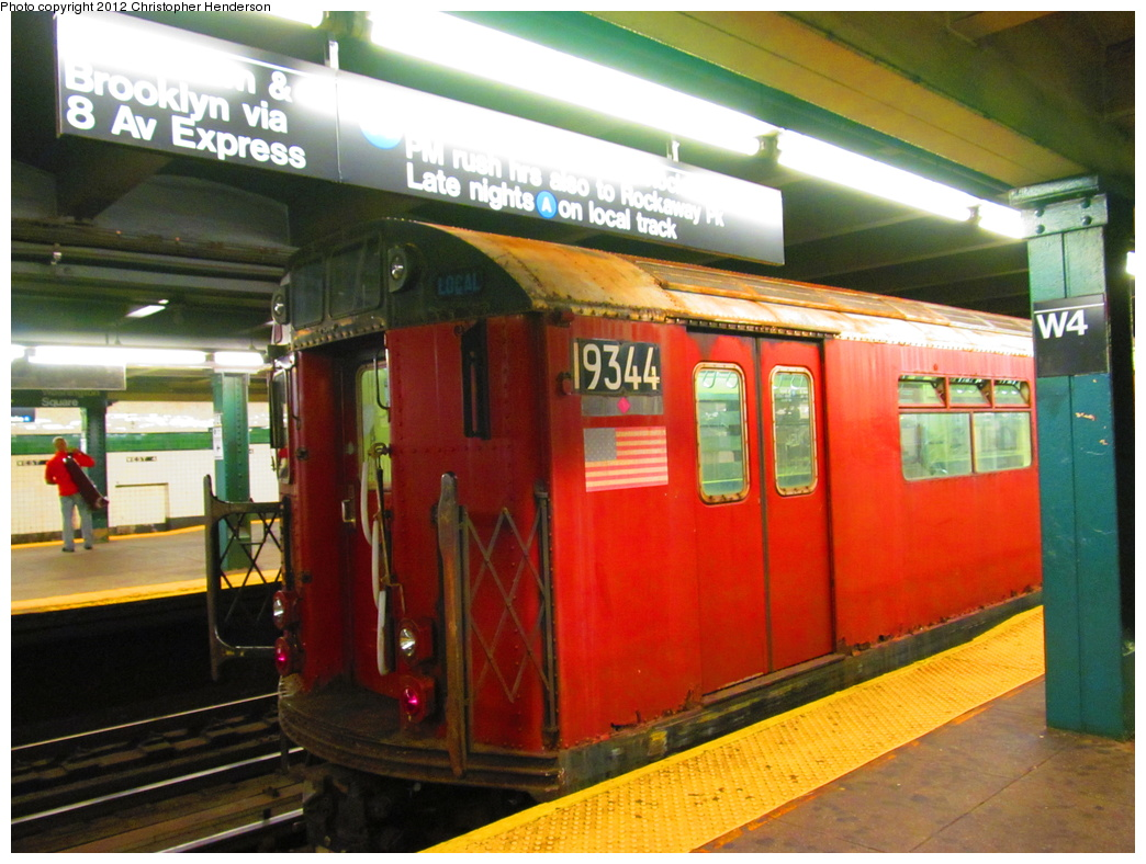 (334k, 1044x788)<br><b>Country:</b> United States<br><b>City:</b> New York<br><b>System:</b> New York City Transit<br><b>Line:</b> IND 8th Avenue Line<br><b>Location:</b> West 4th Street/Washington Square <br><b>Route:</b> Work Service<br><b>Car:</b> R-33 World's Fair (St. Louis, 1963-64) 9344 <br><b>Photo by:</b> Christopher Henderson<br><b>Date:</b> 7/6/2012<br><b>Viewed (this week/total):</b> 3 / 1176