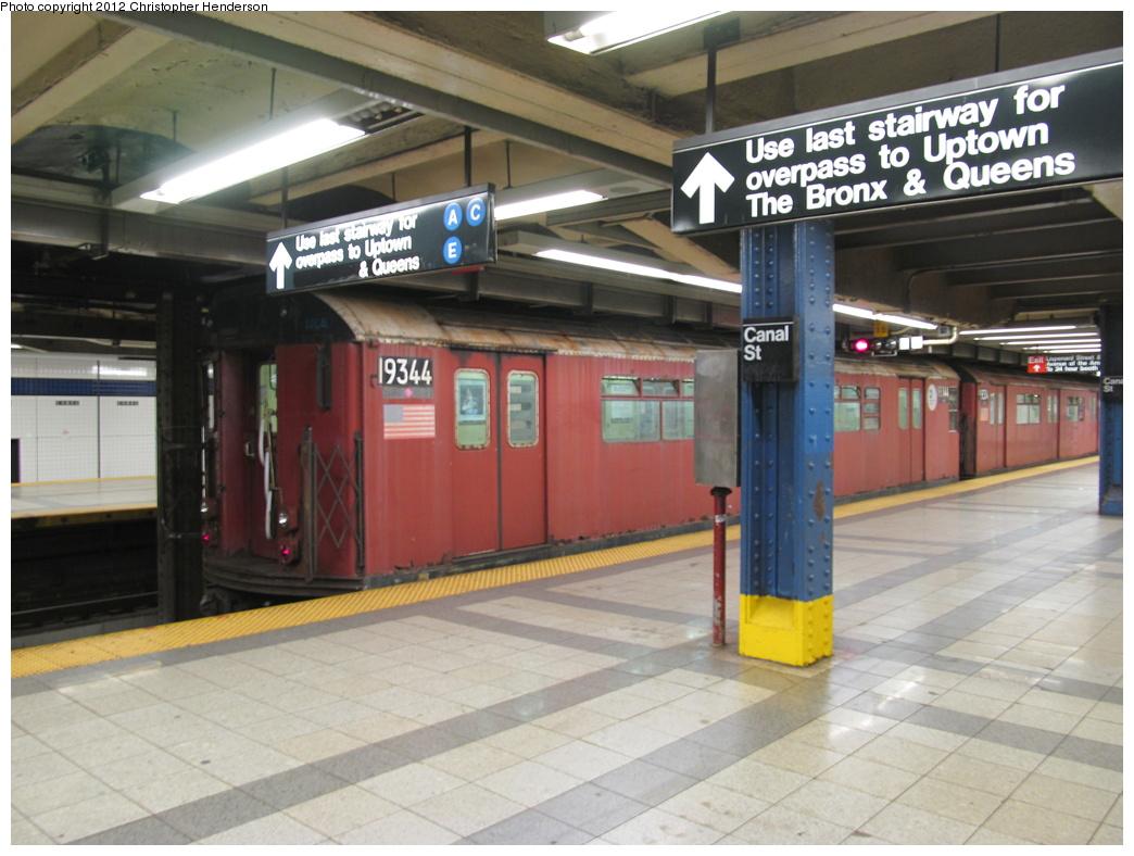 (297k, 1044x788)<br><b>Country:</b> United States<br><b>City:</b> New York<br><b>System:</b> New York City Transit<br><b>Line:</b> IND 8th Avenue Line<br><b>Location:</b> Canal Street-Holland Tunnel <br><b>Route:</b> Work Service<br><b>Car:</b> R-33 World's Fair (St. Louis, 1963-64) 9344 <br><b>Photo by:</b> Christopher Henderson<br><b>Date:</b> 7/6/2012<br><b>Viewed (this week/total):</b> 0 / 1264