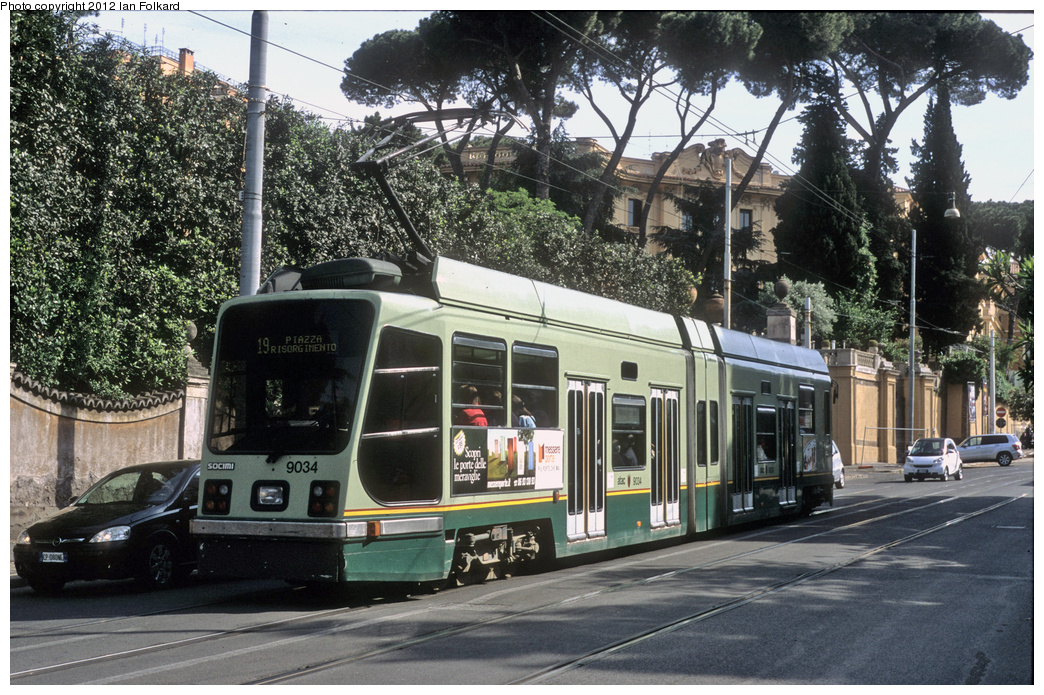 (454k, 1044x695)<br><b>Country:</b> Italy<br><b>City:</b> Rome<br><b>System:</b> ATAC <br><b>Location:</b> Via Ulisse Aldvandi & Via di Villa Sacchetti <br><b>Route:</b> 14<br><b>Car:</b> Rome Double-End (Socimi, 1990)  9034 <br><b>Photo by:</b> Ian Folkard<br><b>Date:</b> 5/15/2012<br><b>Viewed (this week/total):</b> 0 / 446
