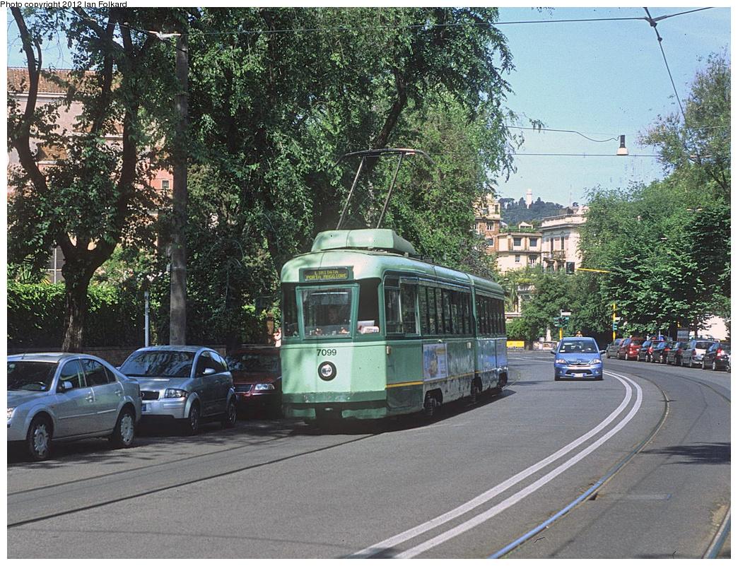(535k, 1044x801)<br><b>Country:</b> Italy<br><b>City:</b> Rome<br><b>System:</b> ATAC <br><b>Location:</b> Via delle Belle Arti-Museo Etrusco <br><b>Car:</b> Rome 6-Axle (Stanga, 1949-50)  7099 <br><b>Photo by:</b> Ian Folkard<br><b>Date:</b> 5/15/2012<br><b>Viewed (this week/total):</b> 0 / 417