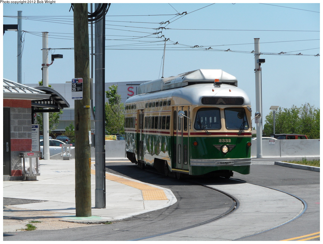 (328k, 1044x788)<br><b>Country:</b> United States<br><b>City:</b> Philadelphia, PA<br><b>System:</b> SEPTA (or Predecessor)<br><b>Line:</b> Rt. 15-Girard<br><b>Location:</b> Northern Liberties Loop (Frankford/Delaware) <br><b>Car:</b> SEPTA PCC-II Rebuild (Brookville Equip., 2003)  2332 <br><b>Photo by:</b> Bob Wright<br><b>Date:</b> 6/30/2012<br><b>Viewed (this week/total):</b> 0 / 612
